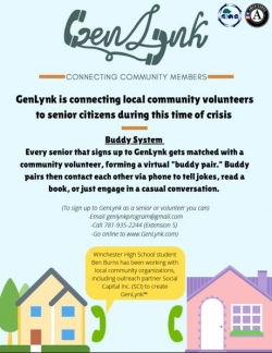 flier for the GenLynk program matching seniors citizens with volunteer callers.