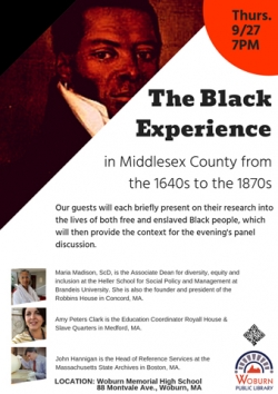 The Black Experience--Middlesex County from the 1640s to the 1870s